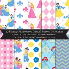 10 Disney Princesses Digital Papers Collection