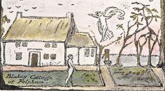 """An angel floats above William Blake in the garden of his thatched cottage in Felpham, Sussex, his home from 1800 to 1803: """"Away to sweet Felpham, for Heaven is there/ The ladder of Angels descends through the air,"""" he wrote. ...The Blake Society is fundraising to buy this house, where he is reputed to have sat naked in the garden reading Paradise Lost to his wife."""