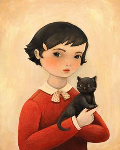 the girl, the cat, the two of them