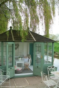 She Shed. Shed quarters. Reading Shed. Craft Shed. Backyard Sheds, Backyard Retreat, Garden Sheds, Backyard Gazebo, Pool House Shed, Tiny House, Backyard Cabin, Outdoor Retreat, Outdoor Rooms