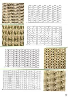large assortment of crochet stitch patterns Different Crochet Stitches, Crochet Stitches Chart, Crochet Motifs, Crochet Diagram, Tunisian Crochet, Filet Crochet, Knitting Stitches, Knit Crochet, Crochet Patterns