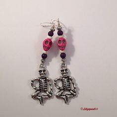 Skull Earrings, Skeleton Earrings, Day of The Dead 'Dias de los Muertos' Magnesite Skull Beads, Silver Plate Charm - Trending Jewelry