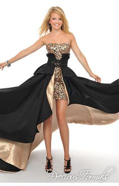 Precious Formals Style L44291 Start the evening off with a long black dress studded with sequins on the bodice, and detach the skirt to reveal a short sexy sequined dress.