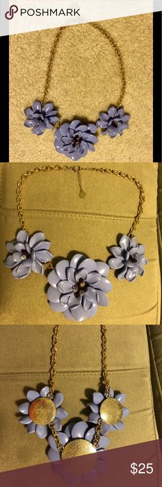 """Talbots Purple and Gold Floral Statement Necklace Talbots Purple and Gold Floral Necklace. Beautiful statement piece! Measures 21"""" total. Worn only once or twice. Talbots Jewelry Necklaces"""