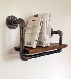wooden shelf with pipes