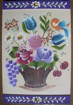 Placa de madeira com pintura bauer