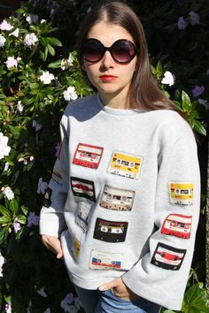 """Gray sweatshirt """"Retro-style cassettes"""" by OlgaWhitman on Etsy Grey Sweatshirt, Retro Style, Retro Fashion, Christmas Sweaters, Cotton Fabric, Etsy, Sweatshirts, Clothes, Tops"""