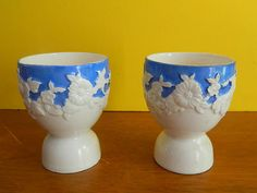 Gorgeous MORIYAMA MORI-MACHI PORCELAIN POTTERY NIPPON JAPAN EGG CUPS 1926  NR NO RESERVE