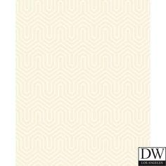 Wellsley Flock Velvet Wallpaper  [DLA-60571] Hampton Lattice | Color: Cream Tone…