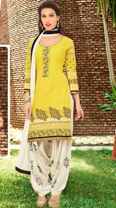 USD 32.90 Yellow Cotton Punjabi Suit 48428