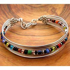 Silverplated Multicolored Bead Bracelet (Kenya) - at Overstock.com