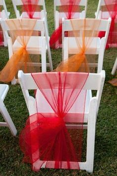 Tulle - an easy diy if your chair has a bottom cross bar.  Photo Source: Couples Resorts #chairdecor #weddingchairs #tulle