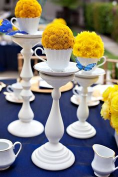 blue and yellow, would be cute to do a pin cushion in place of the flowers