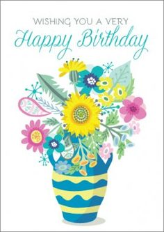 WISHING YOU A VERY Happy Birthday - Flowers in Pot | Cards Only