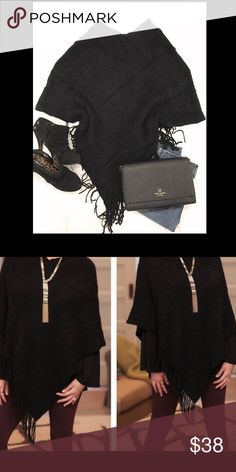 Fringe Poncho This + jeans + boots + hot chocolate = fall perfection. Black. Crocheted. Super soft & cozy. Available in khaki as well in a separate listing. Sweaters Shrugs & Ponchos