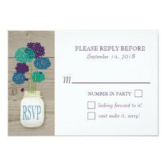 Mason jar Wedding RSVP Purple Teal Florals Card