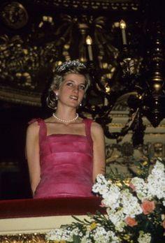 April 20, 1985: Princess Diana at the performance of Giacomo Puccini's Turandot at the La Scala Opera House in Milan.