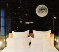 A perfectly space themed bedroom.  This could be even cooler if you made the black paint chalkboard paint... or would that be too much?