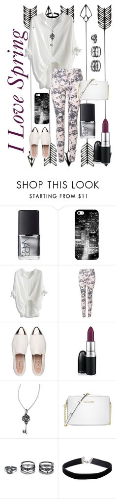 """""""Spring Love #6"""" by musie-della ❤ liked on Polyvore featuring NARS Cosmetics, Casetify, Chicwish, Topshop, Miu Miu, MAC Cosmetics, Femme Metale, Michael Kors, LULUS and Miss Selfridge"""
