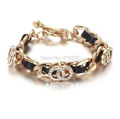 FB020 Hermosa pulsera en chapa de oro 18k y cristal, calidad premium, color negra, Dama, medida 8 pulgadas, precio x piezas $220pesos, precio medio mayoreo $200, precio mayoreo $170
