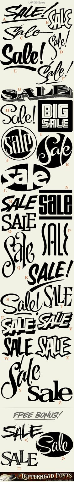 LHF SalesTM 36 Plus 3 Bonus Different Versions Of The Word Sale Packed Into One Font Perfect For Creating Quick Signs And Designs