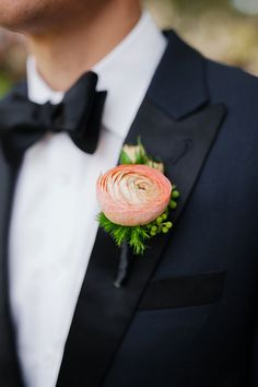 Classic Spring Wedding in Sonoma, Pink Ranunculus Boutonniere | Brides.com