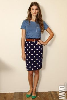 casual tee with a polka dot pencil skirt and colorful flats