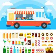 Food truck vector flat illustrations. Retro foods truck with fast food against the sky. Nutrition concept. Junk food, beverages, confectionery, coffee and cakes isolated on white background