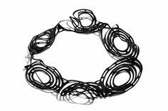 Amarillo Necklace, laser cut black EPDM rubber by Black Lune