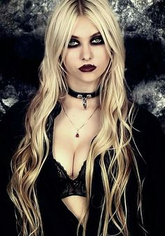 gothic choker, makeup, and long blonde hair | Tumblr
