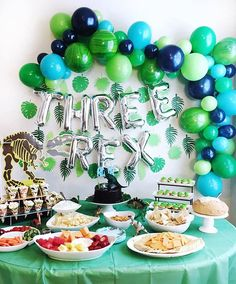 Three Rex Balloons - Three Rex Party Decor - Third Birthday Decor - Dinosaur Party Decor - Dinosaur