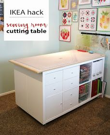 "~ DIY Sewing Room Cutting Table IKEA hack from A Bright Corner.would it be like my first one & have to much ""lost in storage"" space in the centre of bottom? Ikea Sewing Rooms, Sewing Spaces, Sewing Room Furniture, Sewing Room Decor, Decor Room, Sewing Room Design, Craft Room Design, Sewing Studio, Sewing Room Organization"