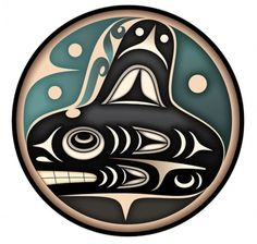 "Killer Whale (qal'qaləx̌ič), by Shaun Peterson - Puyallup tribe ""I recall the impression I had of how the killer whale image resonated with my relatives there, (in Tulalip) and in turn to me, as well,"" he says. There are ""characteristics that drive the connection….The bond of family and love of the water are two that come to mind."""