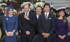 Prince William and Kate shared a laugh with Prime Minister Justin Trudeau and Sophie during the official welcome ceremony.<br><br>Photo: © Christopher Morris/Hello! Canada