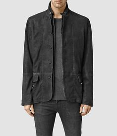 Mens Emerson Leather Blazer (ANTHRACITE GREY) - product_image_alt_text_1