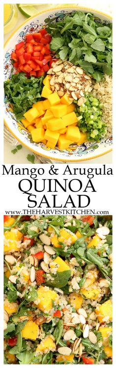 This healthy Mango Arugula Quinoa Salad is a delicious combination of sweet (mango) and peppery (arugula), and it's tossed in a delicious lime vinaigrette. Quinoa is added to provide a healthy dose of plant protein, making this salad perfect for Meatless Mondays. | detox salad recipes | | detox recipes | | clean eating | | vegetarian recipes | | vegetarian salads | | healthy recipes | | Meatless Mondays |