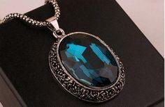 Vintage Elegant Silver Carved Flower Geometry Blue Crystal pendant Necklace