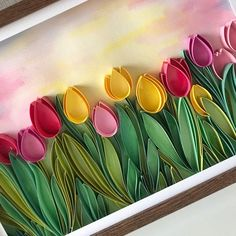 Field of tulips - Quill Paper Art - Framed Floral Decor Excited to share this item from my sho Neli Quilling, Paper Quilling Flowers, Quilling Work, Paper Quilling Jewelry, Paper Quilling Patterns, Quilled Paper Art, Quilling Paper Craft, Paper Flowers Diy, Paper Crafts