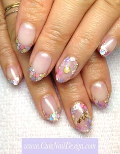 ♥Cute Nail Design♥ » Pictures of Pretty Nail Designs » Colorful Pastel Holo French Nails by Emi