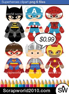 This very cute little superheroes for you. Vector clipart 6 png superman batman…