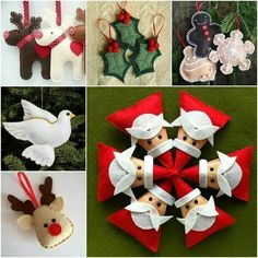 Felt Christmas Ornaments (or pillows - maybe 8 triangle santas sewn tightly together to make a round pillow)