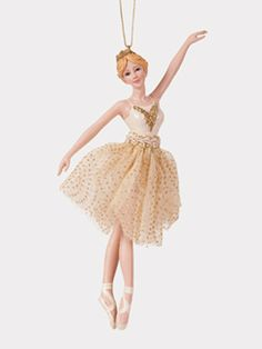 Porcelain Gold Ballerina Ornament - Set of 3