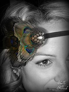 Peacock Headband-DIY. Would be perfect for Great Gatsby party. Party Favors?