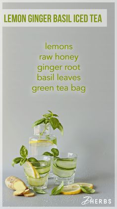 Sip rejuvenating beverages that enhance hydration efforts and simultaneously aid with flushing harmful toxins out of the body. Regular consumption of these detox iced teas may aid weight loss efforts by increasing metabolism. Increasing Metabolism, Green Tea Ingredients, Turmeric Detox, Green Tea Bags, Ginger Slice, Iced Tea Recipes, Unhealthy Diet, Summer Snacks, Raw Vegan Recipes