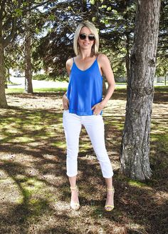 Pretty spring and summer outfit, blue flowy tank, white denim, strappy heels, aviators, Tiaras and Heels blog