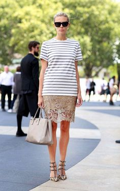 STREET STYLE: CASUAL ROMANTIC | STRIPES • LACE • LEOPARD