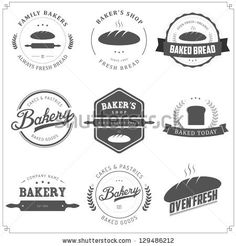 Set of vintage bakery labels and design elements