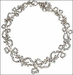 Diamond and Pearl Necklace of Maharani Prem Kaur of Patyala formerly known as   Anita Delgado