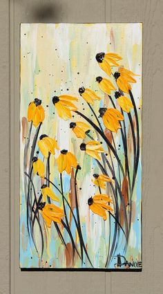 Flower Painting Black Eyed Susans abstract by danlyespaintings, $59.99