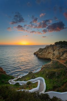 The amazing sunset at beach Carvoeiro, Algarve, Portugal